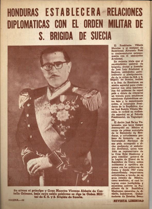 L'Ordine Militare di S. Brigida viene riconosciuto dalla Repubblica dell'Honduras